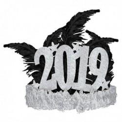 Tiara 2019 glamour plateada unidad para cotillon nochevieja