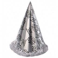 Sombrero cono feliz año nuevo plateado con flecos para nochevieja