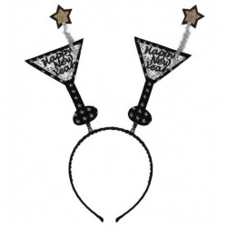 Diadema cotillon copas Happy New Year plata para nochevieja