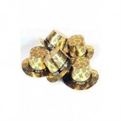 Chistera feliz año nuevo dorado oro para nochevieja