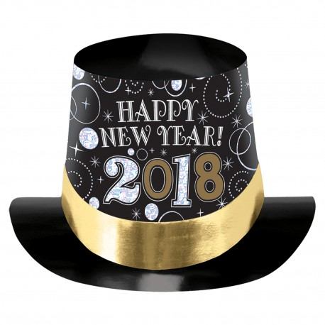 Chistera oro negra happy new year 2018 carton