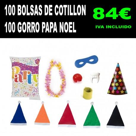 Pack 100 bolsas de cotillon baratas y 100 gorros papa noel baratos