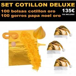 Pack 100 bolsas cotillon oro + 100 gorros papa noel oro